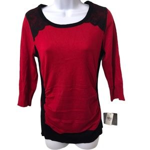 Iz Byer Red and Lace Sweater Size L NWT